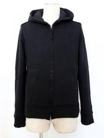 VADEL  raised back french terry  jersey solid high neck hood / black