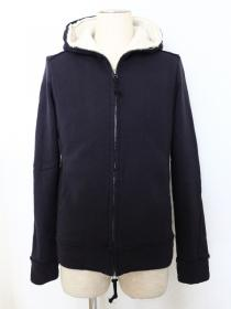 VADEL  raised back french terry  jersey solid high neck hood / navy