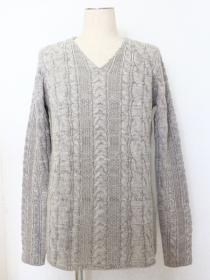 VADEL  5GG cable knit V-neck / snow gray