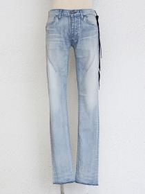 "青激-SEIGEKI- ""BLEACH"" Blue bleached jean with faintly white sprayed..."