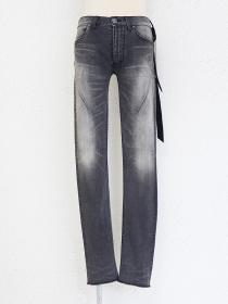 "青激-SEIGEKI- ""AGE"" Stone bleached black washed jean with subtle aging..."