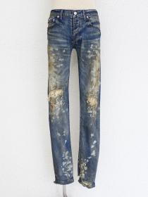 "FAGASSENT ""乱舞-RANBU-"" Distressed blue denim with slight ink & message sleek..."