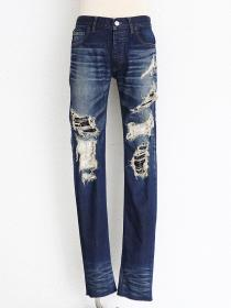 "FAGASSENT ""ZERO"" Deep indigo scar crush denim with white snake jacquard"