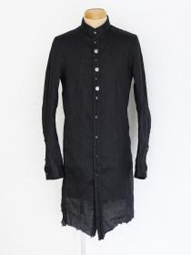 "FAGASSENT ""SH6"" Stand collar black linen long shirt with 3 metal buttons..."